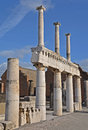 The remains of the two tier colonnade on the forum pompeii italy Stock Image
