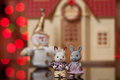 Remarkable pair of toy hares Royalty Free Stock Image