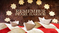 Remember Pearl Harbor. Usa Flag Waves on Wood and Boat Royalty Free Stock Photo