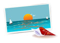Remembering of vacations illustration composition with photo ocean and shell nice memories about past vacation traveling theme Stock Image