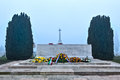 Remembrance alter at tyne cot flanders fields cemetery for the first world war on a misty day near ypres in belgium Royalty Free Stock Photo