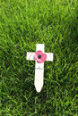 Remembrance day wooden cross with red poppy on the green lawn Stock Photography