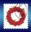 Remembrance sunday wreath stamp vector Stock Images
