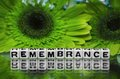 Remembrane text with green flowers in the background Stock Images