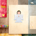 Reminder card cute angel first communion religious symbols Stock Photography