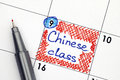 Reminder Chinese class in calendar with pen