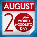 Reminder Date in Calendar Paper for World Mosquito Day, Vector Illustration