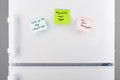 Reminder notes on blue, green and pink paper on refrigerator Royalty Free Stock Photo
