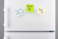 Reminder notes on blue, green and yellow paper on refrigerator Royalty Free Stock Photo