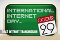 Reminder Sign with Retro Computers for International Internet Day, Vector Illustration
