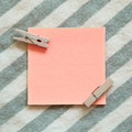 Reminder sticky notes on stripe pattern background Royalty Free Stock Photo