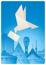 Remittances symbolic pigeon flying over the city Stock Photos