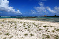 Remote caribbean beach in guadeloupe sea Stock Images