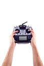 Remote control in hand man Royalty Free Stock Photo