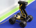 Remote controlled robot vehicle with camera and led lights Royalty Free Stock Photography