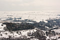 Remote farmland on the snow covered moors Stock Photography