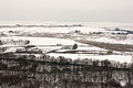 Remote farmland on the snow covered moors Stock Photos