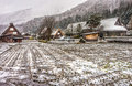 Remote mountain villages of gassho-style houses in Shirakawa-go in winter Royalty Free Stock Photo
