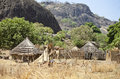Remote village mountainous region south sudan Stock Photo