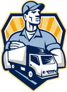 Removal man delivery truck crest retro illustration of a guy with moving van in the foreground set inside shield done in style Stock Photos