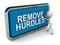 Remove hurdles word on a push button with a man pushing it Stock Images