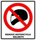 Remove motorcycle helmets icon symbol protection and prohibition, should not wear helmet in the room or area. Warning banner with