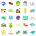 Remuneration icons set, cartoon style Royalty Free Stock Photo