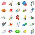 Remuneration icons set, isometric style Royalty Free Stock Photo