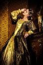 Renaissance age style beautiful young woman in the lush expensive dress in an old palace interior vintage style fashion Royalty Free Stock Image