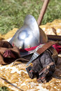 Renaissance armours: helmet and glove. Stock Image