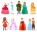 Renaissance clothing vector woman man character in medieval fashion vintage dress historical royal clothes illustration