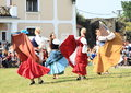 Renaissance dancers dancing on svihov castle czech republic during battle of svihov at th of jun Stock Photos