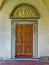 Renaissance door in the cloister of Basilica di Santa Croce. Florence, Italy Royalty Free Stock Photo