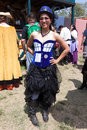 Renaissance fair patron wearing Tardis dress Stock Image
