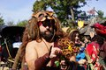 Renaissance Faire barbarian with flowers Royalty Free Stock Photo