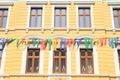 Renaissance house in jicin behind each streamers town czech republic Stock Photos