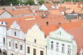 Renaissance houses in trebon with red roofs town czech republic Royalty Free Stock Photos