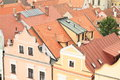 Renaissance houses in trebon with red roofs town czech republic Royalty Free Stock Images