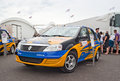 Renault logan rally car from e motorsport team fedyukovo russia july is displayed in the paddock of moscow raceway circuit on july Royalty Free Stock Image