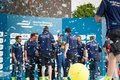 Renault team attending the E-Prix FIA Formula E race car Award Ceremony Royalty Free Stock Photo