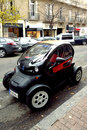 Renault twizy ze electric car parked on street Royalty Free Stock Photo