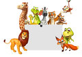 Rendered illustration of wild animal with white board Royalty Free Stock Photo