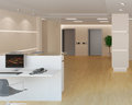 Rendering of the office lobby d a modern light with reception Royalty Free Stock Photography