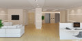Rendering of the office lobby d a modern light with reception Royalty Free Stock Images