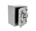 Rendering of steel safe box with open door, isolated on white background