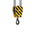 Rendering of tower crane hook isolated on the white background. Royalty Free Stock Photo