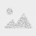 Rendering white mountains and sun icon made up of many square uneven blocks. Royalty Free Stock Photo