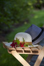 Rendezvous in the garden on a chair feminine hat men s hat and twigs with fruits of viburnum Stock Photos