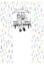 stock image of  Rendezvous in the rain. Couple in love sitting on the bench.