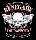 Renegade winged skull graphic outlaw biker inspired available in eps vector for easy editing Stock Photo